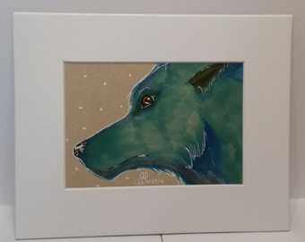 Blue Wolf Original in Copic Markers and Ink