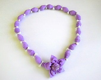 Lilac, lace fabric necklace ecru, bronze-colored beads