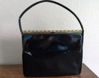 1950's Mid Century modern black patten leather purse
