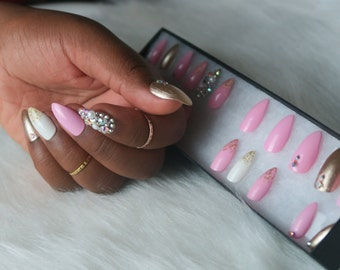 l *Princess Cut* Fresh Tips l False Nail Set l Press-on l Mini Stiletto Pink Gold White Swavorski Glitter Gel l