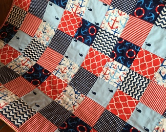 Nautical, Red, White & Blue Baby/Toddler Quilt