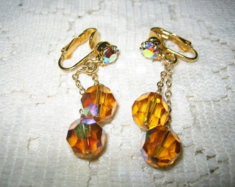 Vtg. Amber Cut Crystal Dangling Clip On Earrings