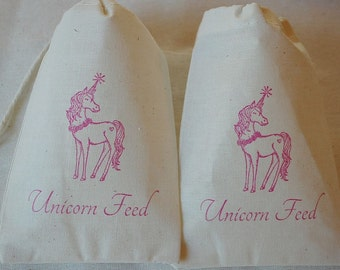 10 Unicorn Feed muslin cotton party favor bags 4x6 inch For birthday party, goodie bags, gift bags, cotton pouch, favor bags, party bags