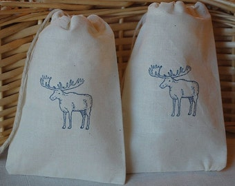 10 Moose muslin cotton party favor bags 4x6 inch - goodie bags, gift bags - Wedding favor bags - you choose ink color and bag size