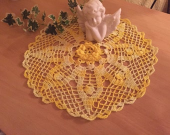 Hand made crocheted Doilies yellow