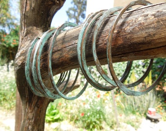 Bracelet turquoise patina copper