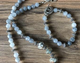 Jewelry set, bracelet, womens set, women's jewelry, blue, grey, sterling silver, Before the Rain
