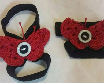 Handmade Baby butterfly barefoot sandals