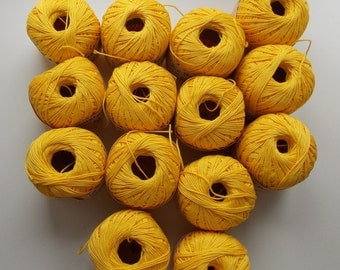 Yellow yarn, cotton yarn, yarn lot, cheap yarn, cotton yarn lot, summer yarn, DK yarn, light yarn, light worsted yarn, knitting yarn