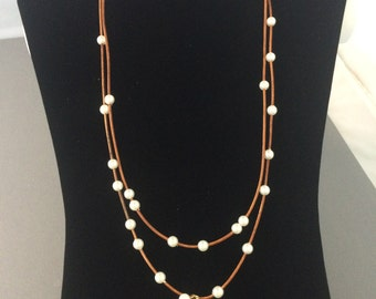 Shell Pearl Necklace with Brown Leather Cord