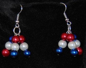4th of July, Patriotic Earrings, Patriotic Drop Earrings, Red White & Blue, White Pearl Earrings, Red Pearl Earrings, Blue Pearl Earrings