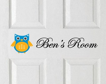 Personalised / Custom Door Sticker Decal with Owl and Custom Name