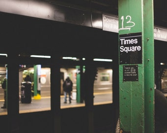 Times Square Subway Stop Metallic Print