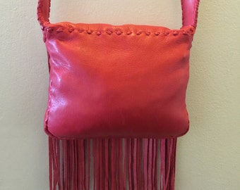 Handmade Red Leather Bag with Fringes