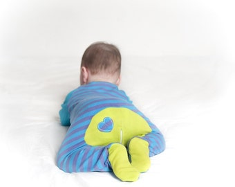 Blue and purple striped zip up sleep suit/baby grow with lime green details and slouch beanie