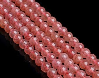 Natural Strawberry Quartz, Strawberry Quartz Beads, Smooth Round Beads, Semi-Precious, Gemstone Beads, 4 6 8 10 12 14 mm, (CB010)