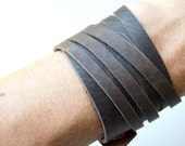 Rustic Brown Leather Wrap Bracelet Cuff:  Triple Wrap Genuine  Leather Cuff