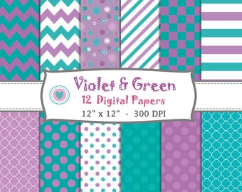12 DIGITAL PAPERS - violet and green, mint, polka dots, Chevron, zigzag, stripes, basic colors, scrapbook, birthday