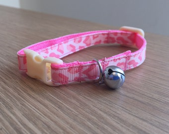 Pink Leopard Animal Print Cat Collar (Quick Release)