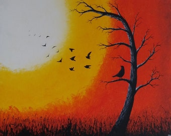 Abstract Original Acrylic on Board Birds in a Tree Whimsical Silhouette Orange Yellow Unframed Painting