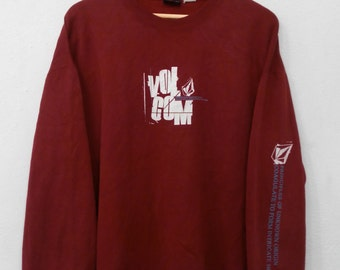 RARE!!! Volcom Surfboard Big Logo SpellOut Crew Neck Maroon Colour Sweatshirts Hip Hop Swag L Size