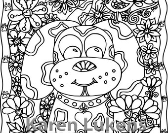 Happy Puppy, 1 Adult Coloring Book Page, Printable Instant Download