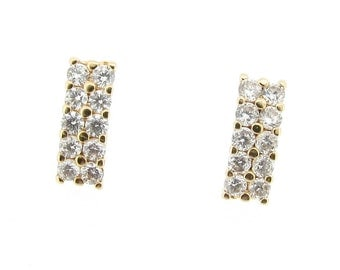 9ct Yellow Gold CZ Octagonal Cluster Stud Earrings