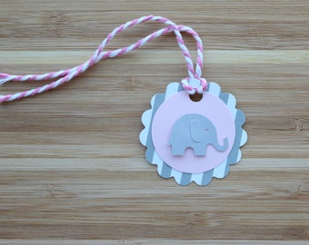 Elephant Favor Tags. Baby Shower Decorations. Gift Tags. Thank You Tags.