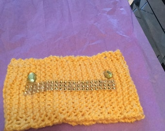 Knitted yellow headband