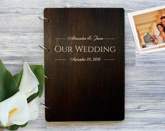 Wedding Photo Album, Personalized Photo Album, Custom Wedding Photo Album, Wooden Photobook, Wedding Gift Photo Album, Gift for Couple