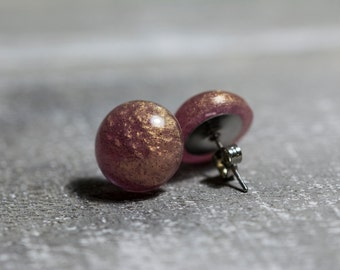 Rosegold stud earrings, 14mm, shimmering resin