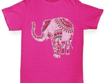 Girl's Decorated Elephant Rhinestone Diamante T-Shirt
