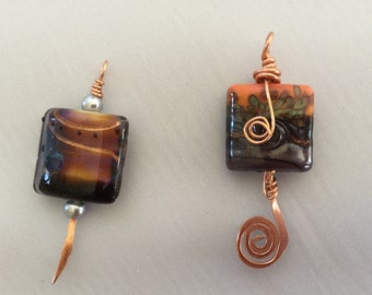 Square lampworked pendant with copper wire wrap