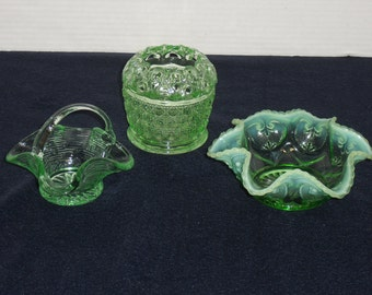 RESERVED...Three Green Candy Dishes.  EAPG Tidbit Candy Dish.  Basket.  Vase.