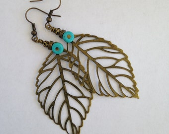 Leaf Earrings/Leaf Dangle Earrings/Filigree Leaf Earrings/Boho Chic Earrings/Bohemian Jewelry/Stocking Stuffers for Women/Gifts under 20/E5