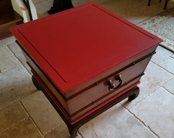 LANE Square Coffee Table - upcycled with Antique Red top and accents, hidden drawer, birch wood hand-rubbed hemp seed oil and wax finish.