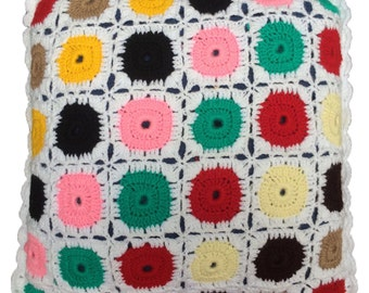 Colourful handmade crochet cushion/pillow cover for Home decor and furnishing 12X12inch