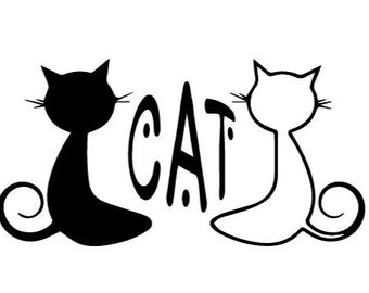 Personalized Cat Duo Vinyl Sticker Decal - 20 Colors to Choose From - For use on Laptop, Car, Windows, Mugs, and More!