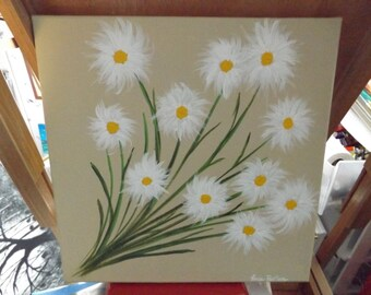 """12"""" x 12"""" Acrylic on Canvas Daisy Bunches Paintings Set of 2"""