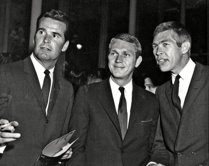 Three Hollywood Legends: James Garner, Steve McQueen and James Coburn - 5X7 or 8X10 Photo (ZZ-054)