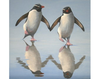 """Penguin print, titled """"Putting on the Ritz"""""""