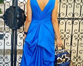 open back long dress, maxi summer dress, plus size dress, drapped dress,asymmetrical long dress, long drapped dress, drapped open back dress