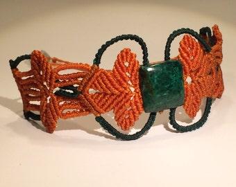Orange-green Macrame Bracelet with Chryzokola Stone