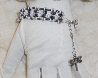 Purples & Blues over White Bracelet w/Dragonfly Accent