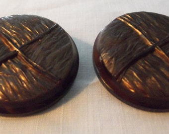 Two Extra Large Plastic Coat Buttons