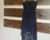"Altered Dark Blue ""Cowgirl"" Dress, High-Low Cut, Lacy, Elastic-Cinched Waist, Size Medium"