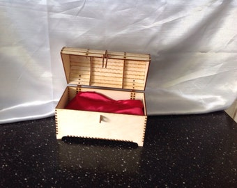 Wooden treasure chest jewellery box