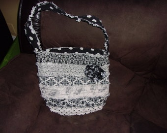 Black and White Ragged Handbag