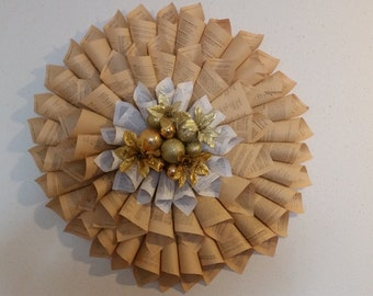 Old Book Paper Wreath 2 Tone
