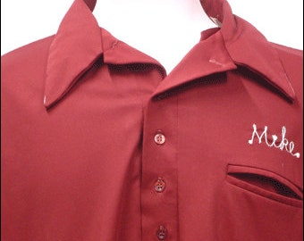 Vintage King Louie Town & Country Lanes Joliet Illinois Bowling Shirt